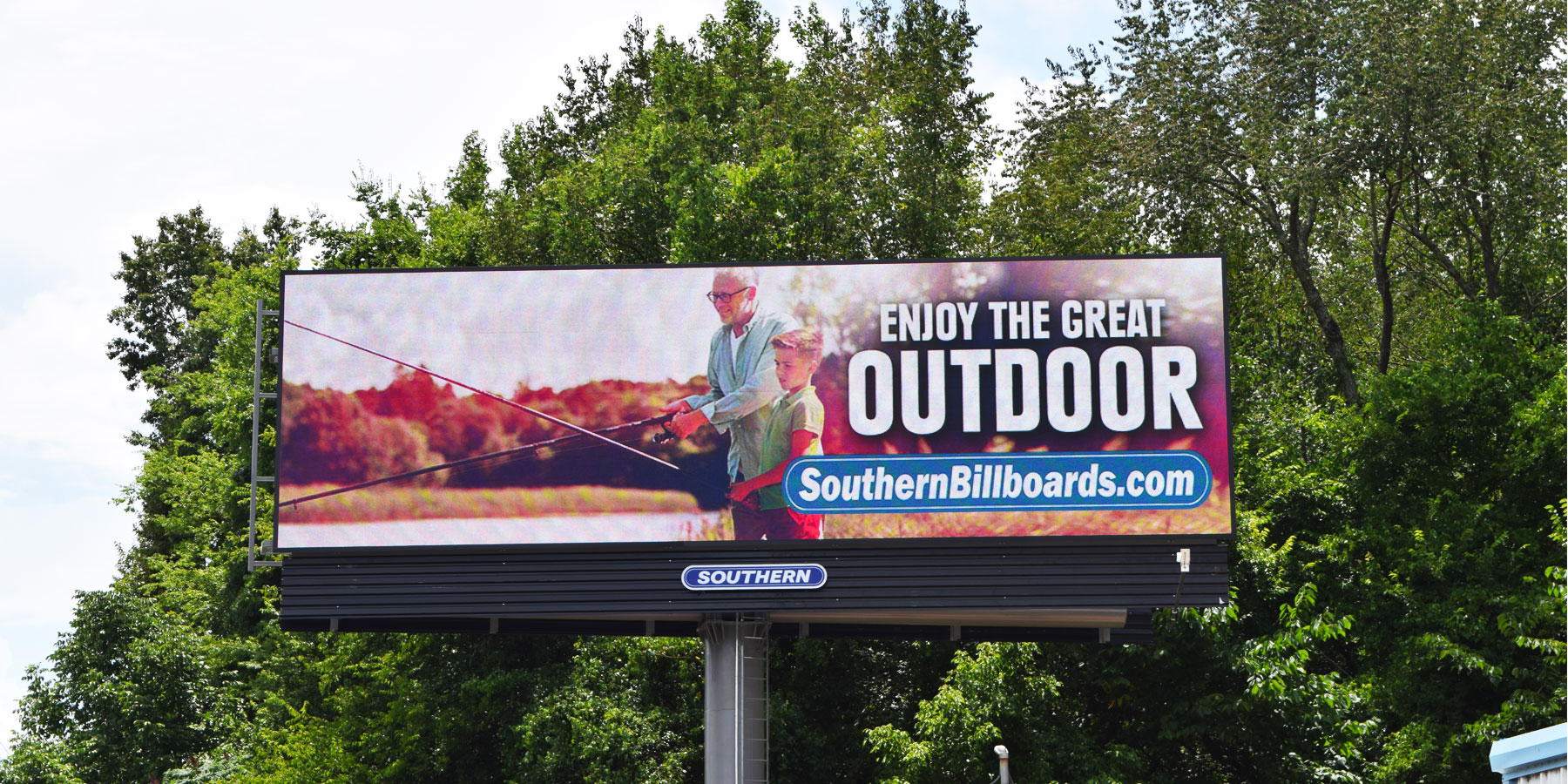billboard showing a man fishing with a young boy